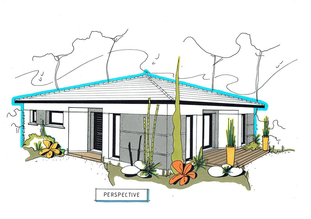 plans maison moderne nos r alisations villa cap ouest. Black Bedroom Furniture Sets. Home Design Ideas